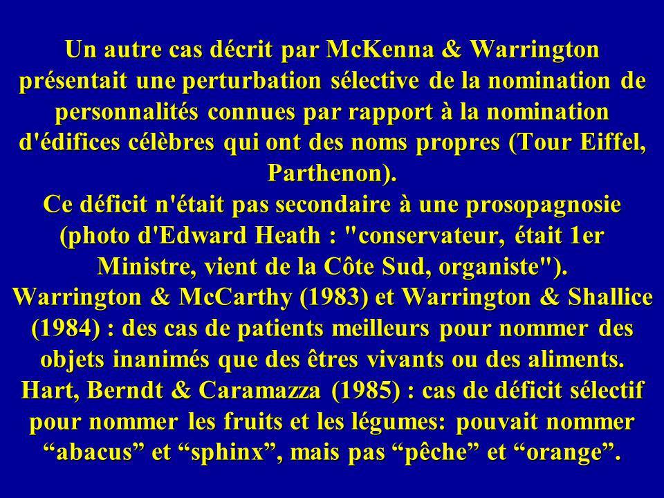 Un autre cas décrit par McKenna & Warrington présentait une perturbation sélective de la nomination de personnalités connues par rapport à la nomination d édifices célèbres qui ont des noms propres (Tour Eiffel, Parthenon).