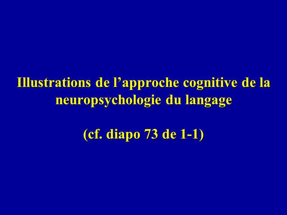 Illustrations de l'approche cognitive de la neuropsychologie du langage (cf. diapo 73 de 1-1)