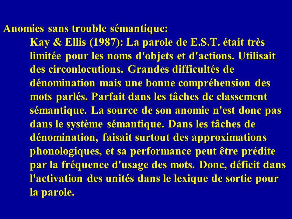 Anomies sans trouble sémantique: Kay & Ellis (1987): La parole de E. S