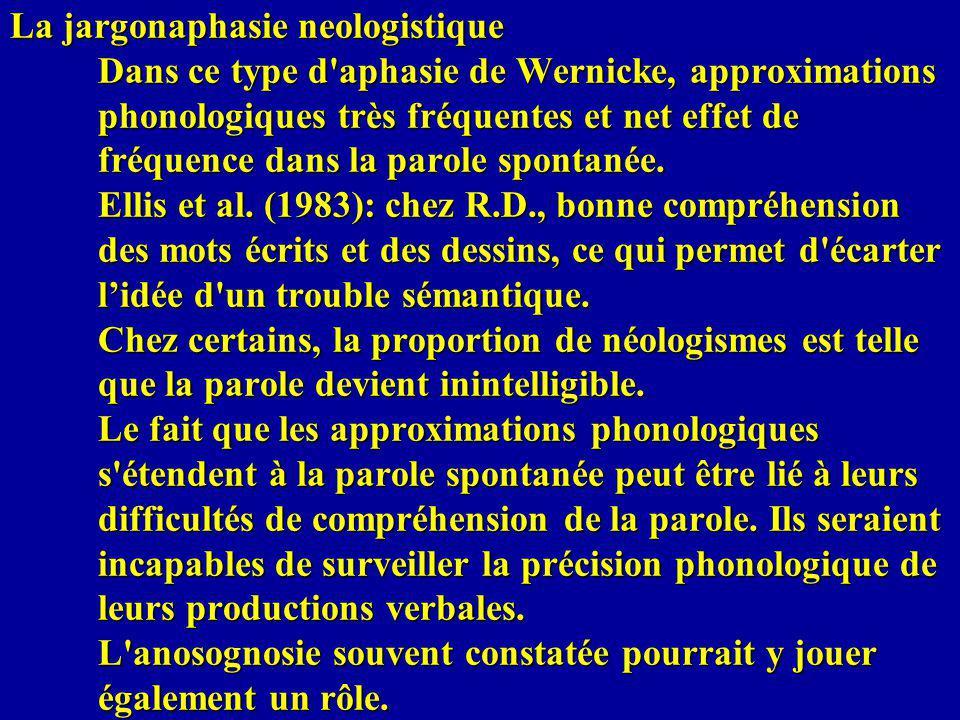 La jargonaphasie neologistique Dans ce type d aphasie de Wernicke, approximations phonologiques très fréquentes et net effet de fréquence dans la parole spontanée.