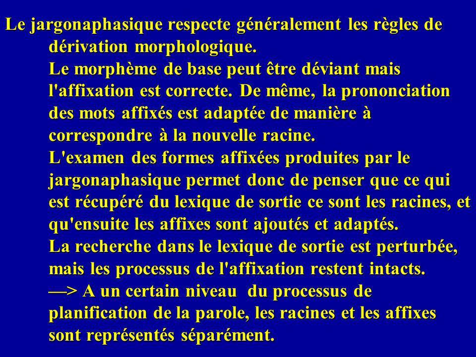 Le jargonaphasique respecte généralement les règles de dérivation morphologique.