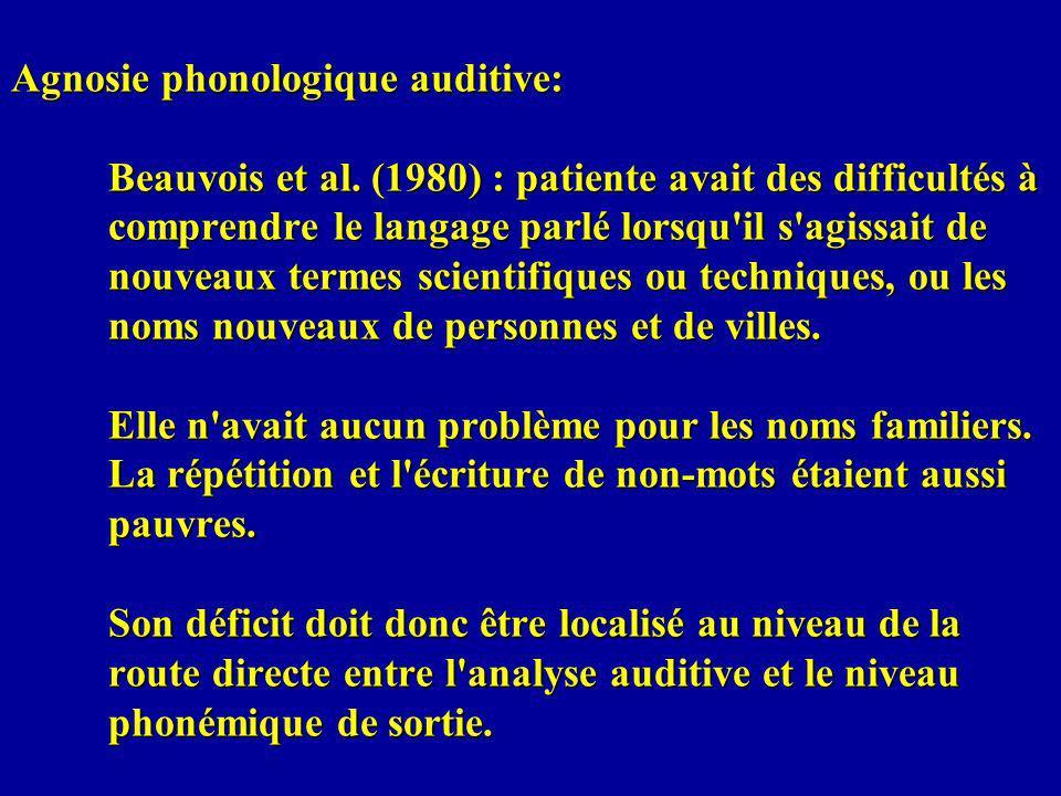 Agnosie phonologique auditive: Beauvois et al