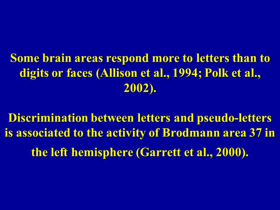 Some brain areas respond more to letters than to digits or faces (Allison et al., 1994; Polk et al., 2002).