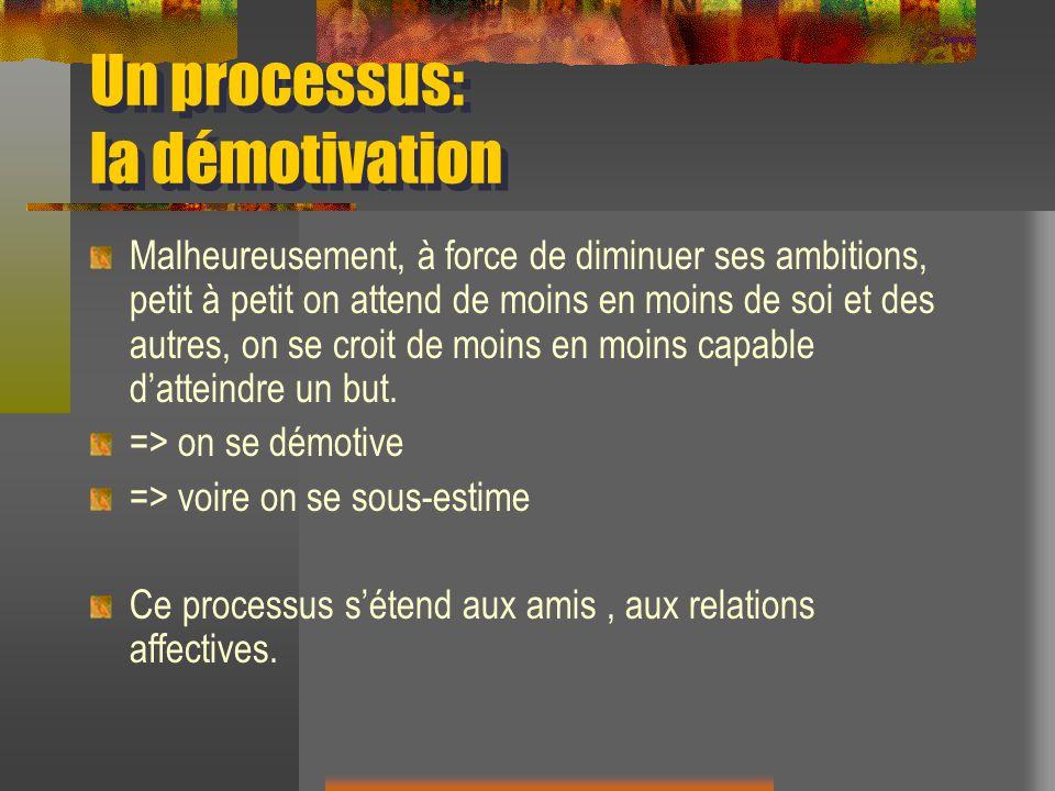 Un processus: la démotivation