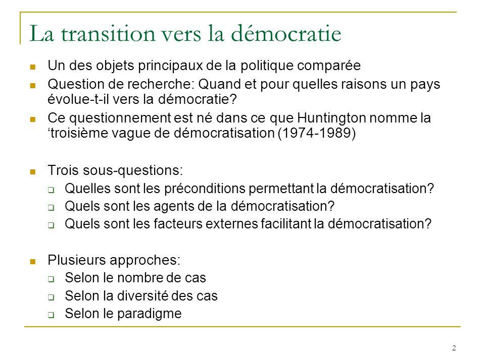 La transition vers la démocratie