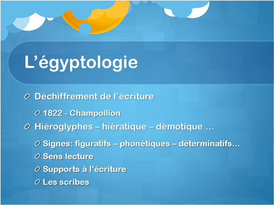 L'égyptologie Déchiffrement de l'écriture