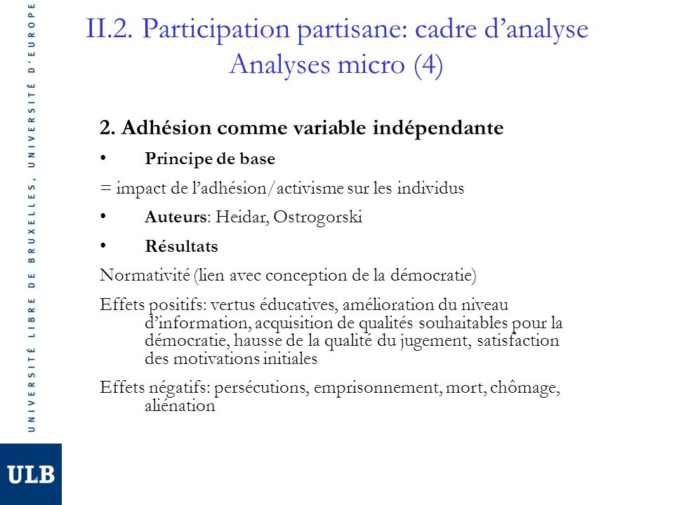 II.2. Participation partisane: cadre d'analyse Analyses micro (4)