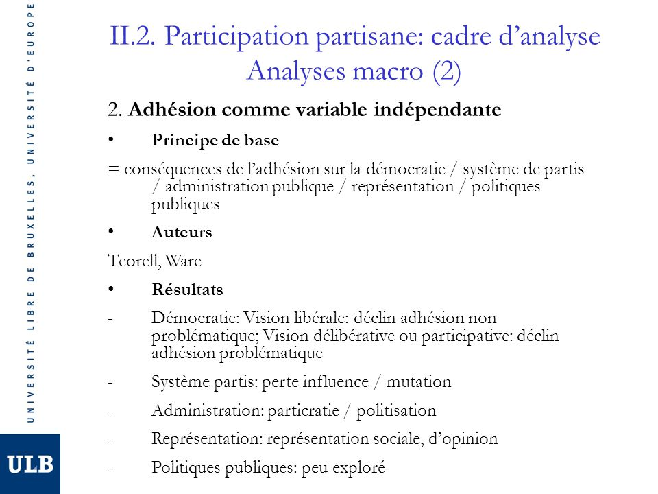 II.2. Participation partisane: cadre d'analyse Analyses macro (2)