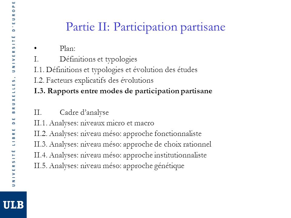 Partie II: Participation partisane