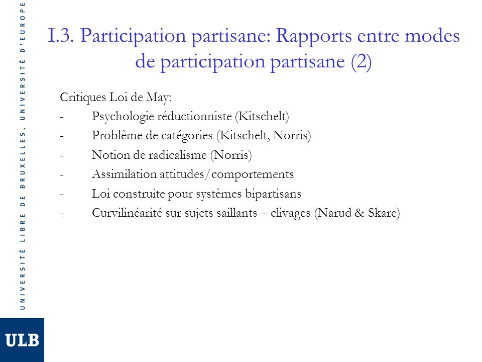 I.3. Participation partisane: Rapports entre modes de participation partisane (2)