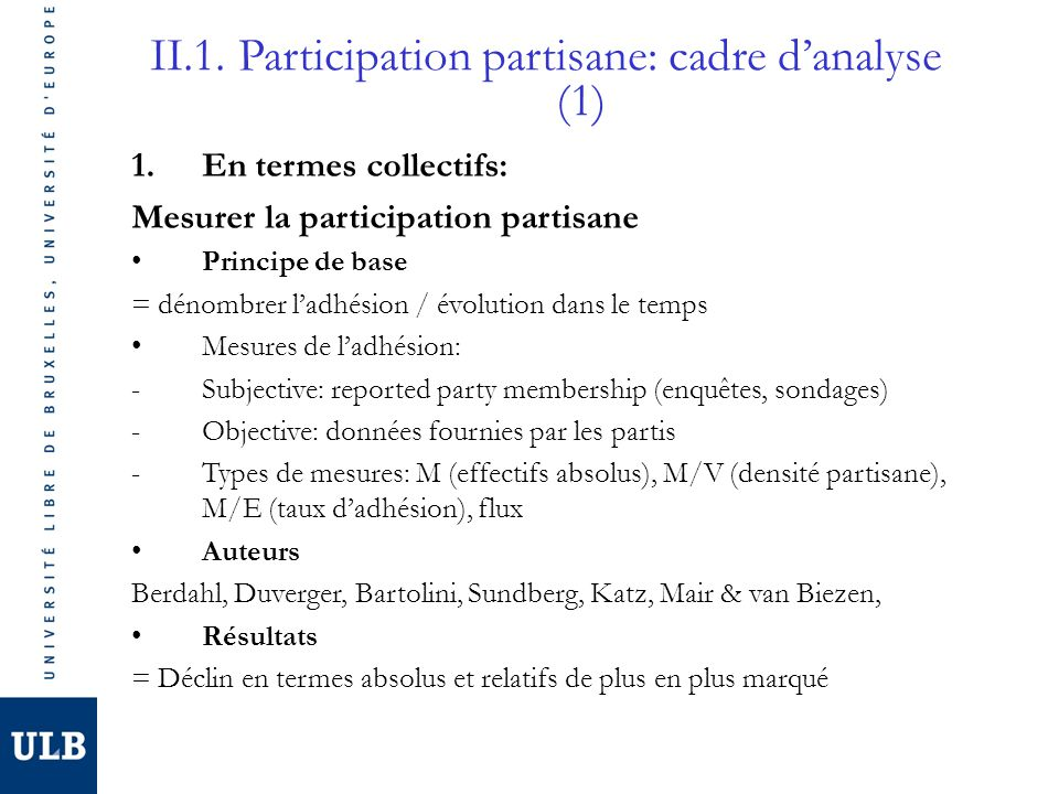 II.1. Participation partisane: cadre d'analyse (1)