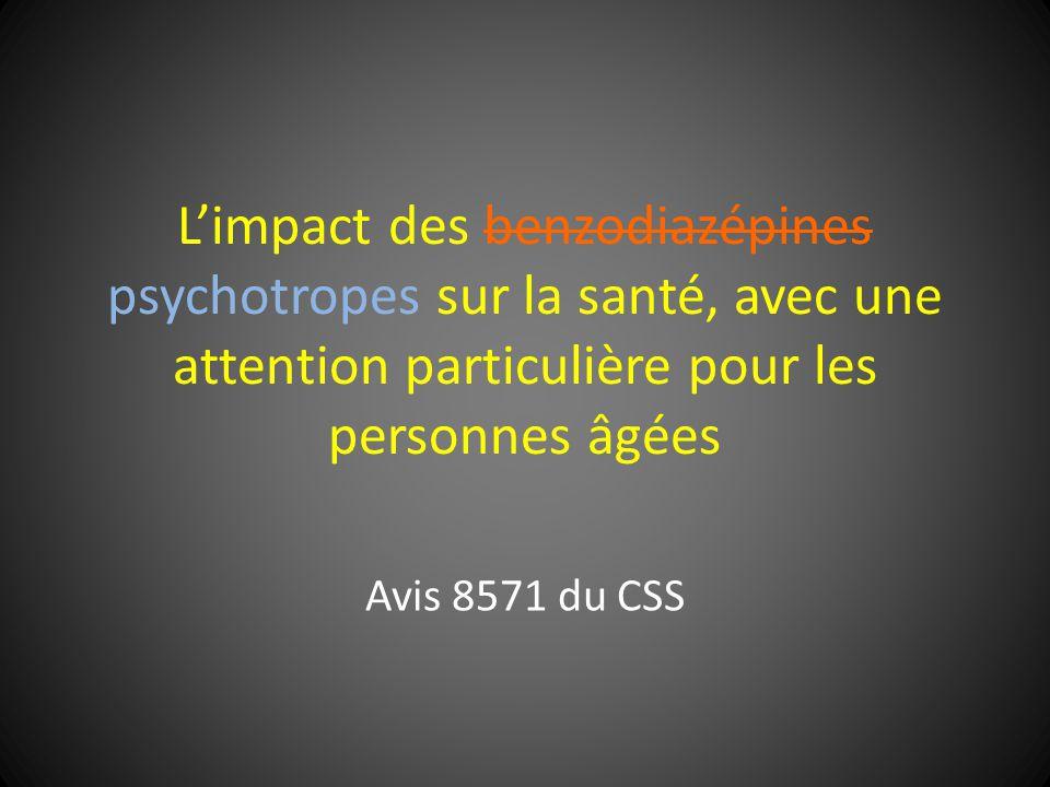 L'impact des benzodiazépines psychotropes sur la santé, avec une attention particulière pour les personnes âgées