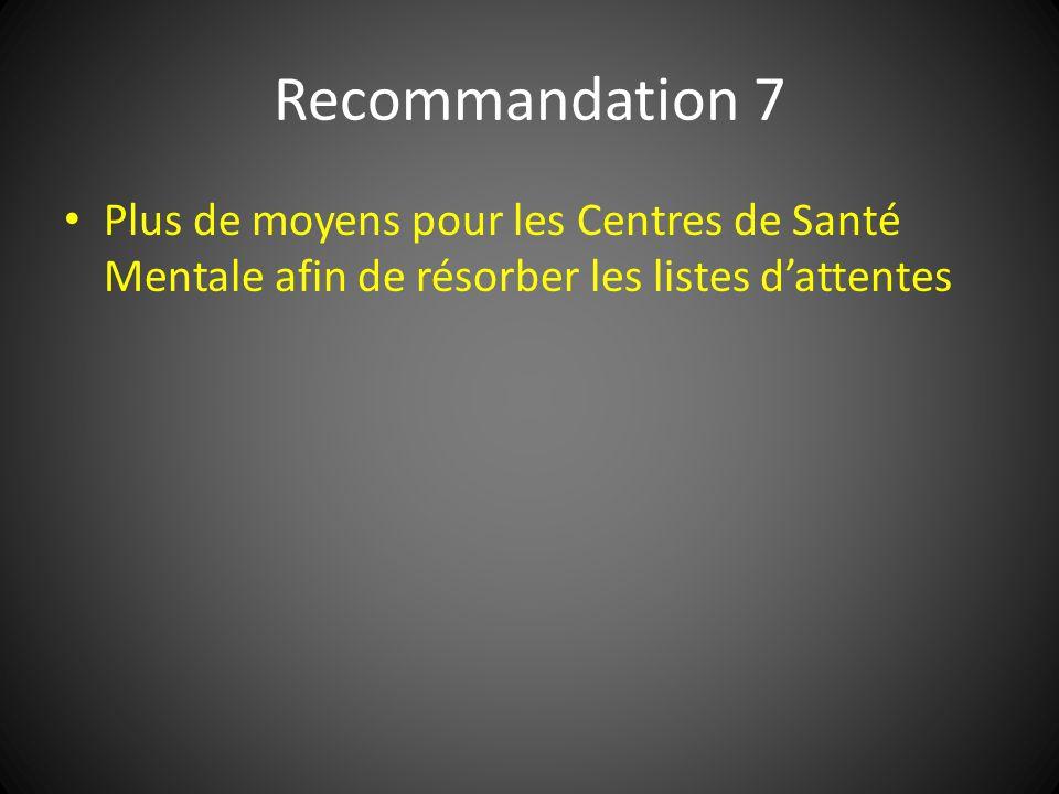 Recommandation 7 Plus de moyens pour les Centres de Santé Mentale afin de résorber les listes d'attentes.