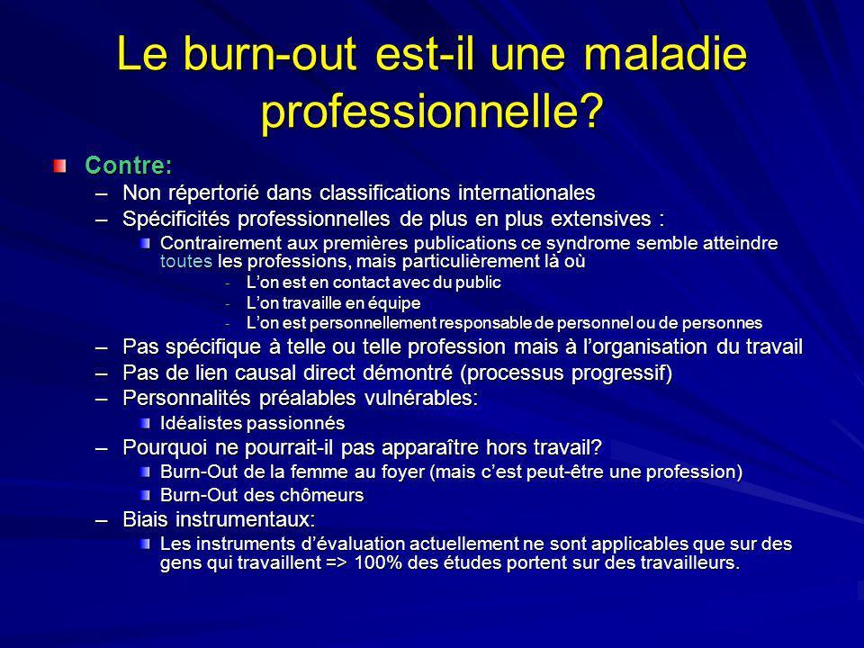 Le burn-out est-il une maladie professionnelle