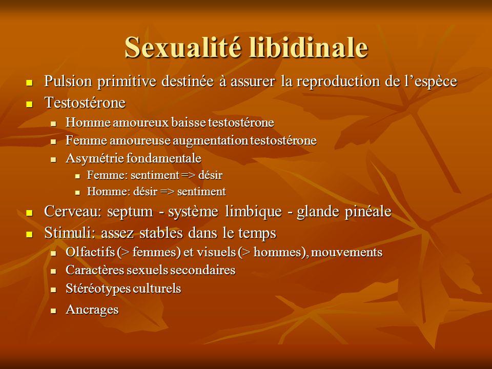 Sexualité libidinale Pulsion primitive destinée à assurer la reproduction de l'espèce. Testostérone.