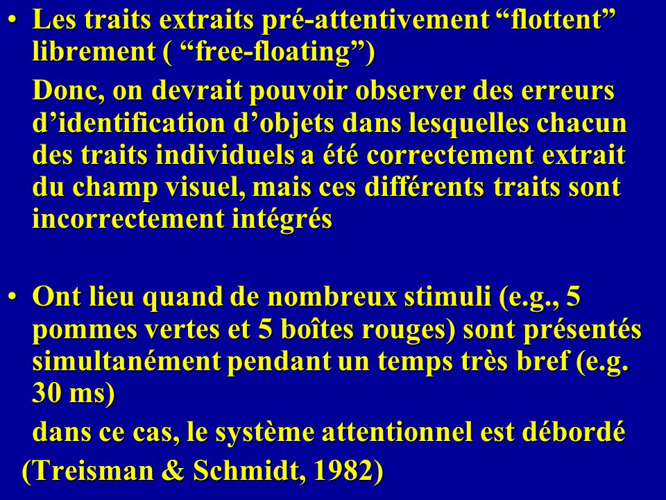 Les traits extraits pré-attentivement flottent librement ( free-floating )