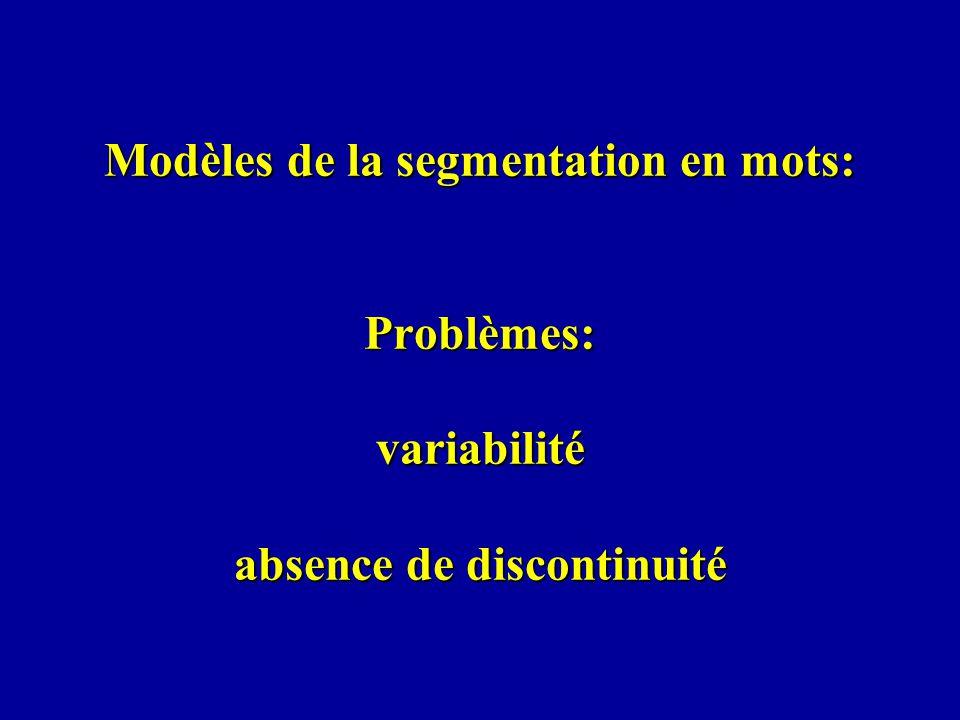 Modèles de la segmentation en mots: Problèmes: variabilité absence de discontinuité