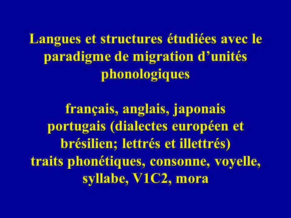 Langues et structures étudiées avec le paradigme de migration d'unités phonologiques français, anglais, japonais portugais (dialectes européen et brésilien; lettrés et illettrés) traits phonétiques, consonne, voyelle, syllabe, V1C2, mora