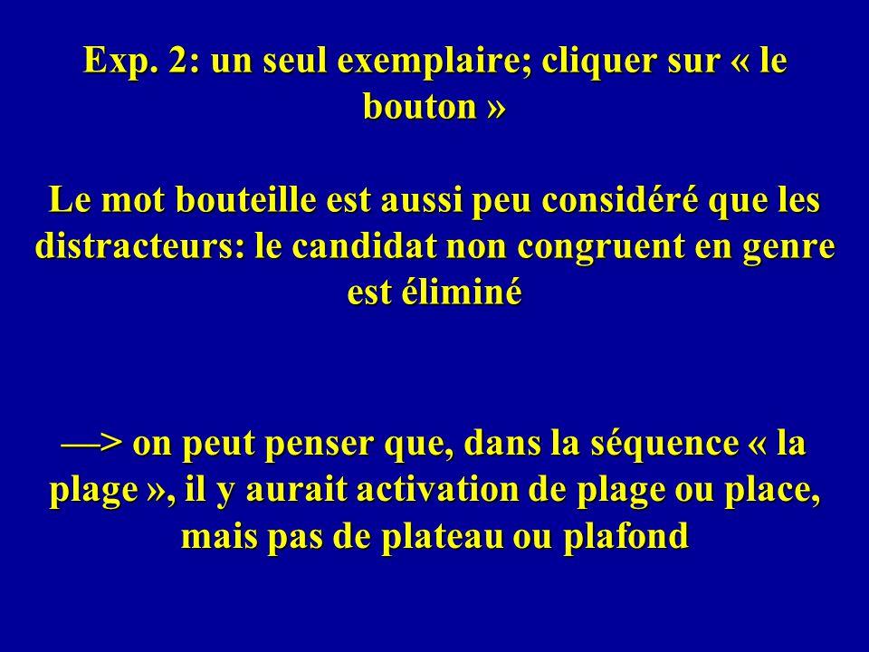 Exp. 2: un seul exemplaire; cliquer sur « le bouton » Le mot bouteille est aussi peu considéré que les distracteurs: le candidat non congruent en genre est éliminé