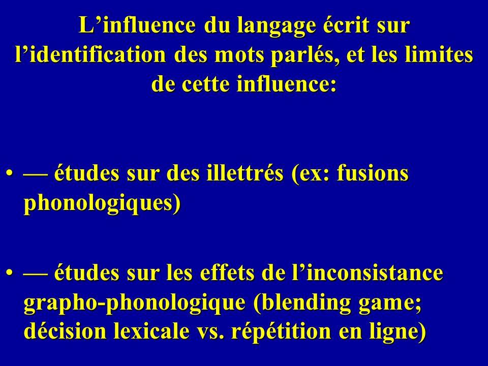 L'influence du langage écrit sur l'identification des mots parlés, et les limites de cette influence: