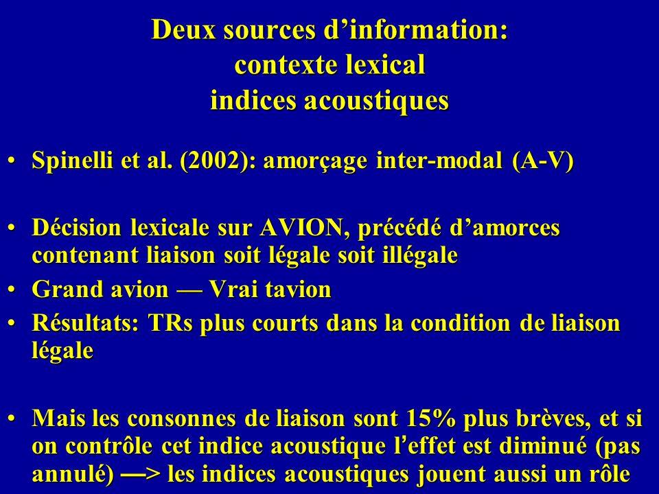 Deux sources d'information: contexte lexical indices acoustiques