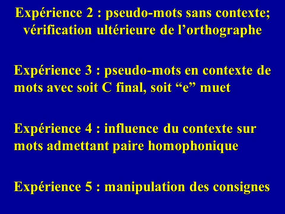 Expérience 2 : pseudo-mots sans contexte; vérification ultérieure de l'orthographe