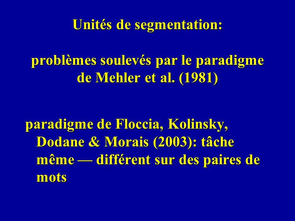 Unités de segmentation: problèmes soulevés par le paradigme de Mehler et al. (1981)