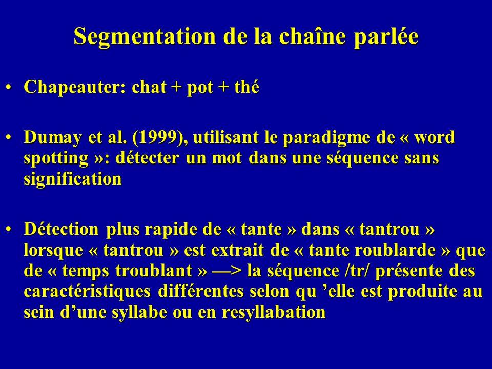 Segmentation de la chaîne parlée