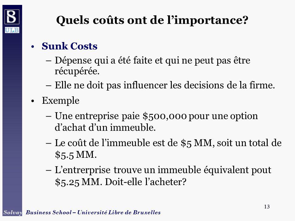 Quels coûts ont de l'importance
