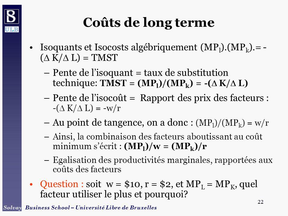 Coûts de long terme Isoquants et Isocosts algébriquement (MPl).(MPk).= -( K/ L) = TMST.