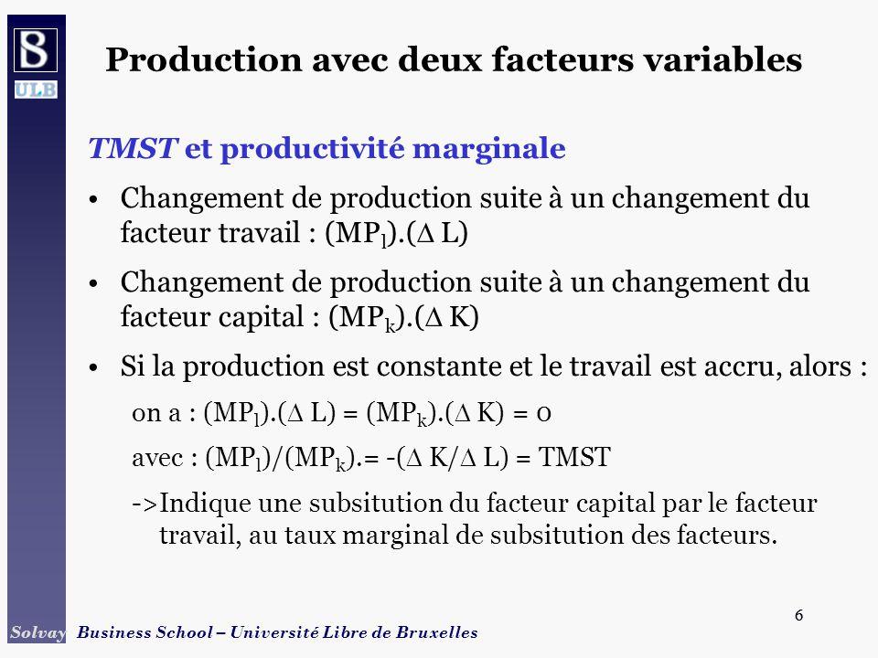 Production avec deux facteurs variables