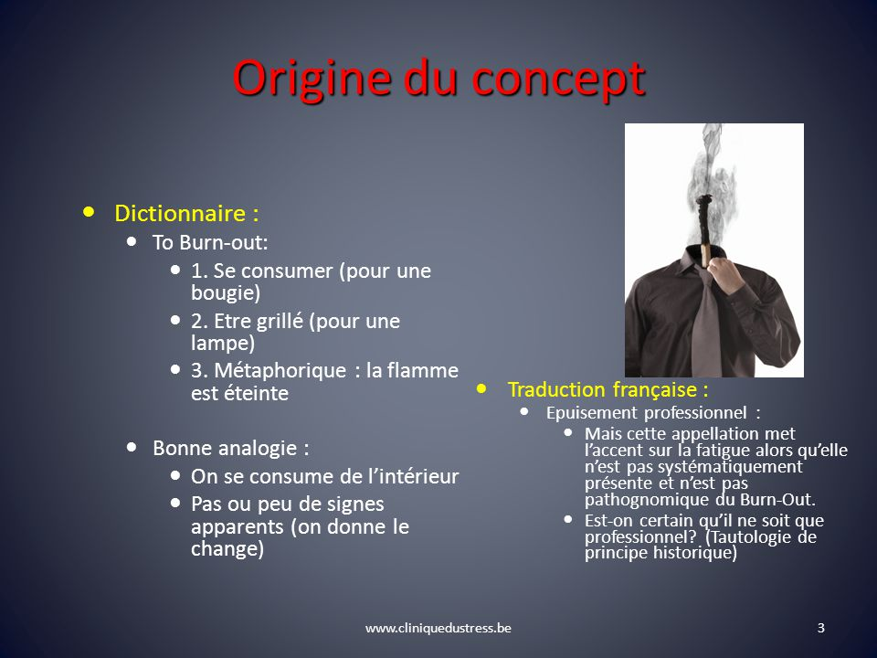Origine du concept Dictionnaire : To Burn-out:
