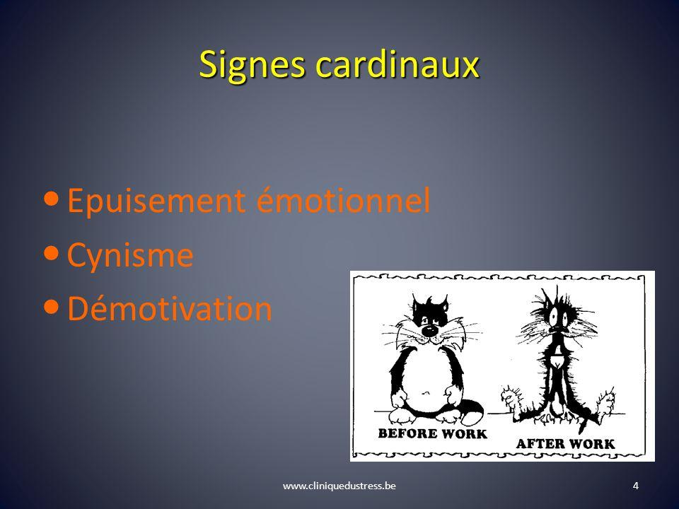 Signes cardinaux Epuisement émotionnel Cynisme Démotivation