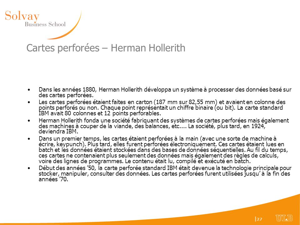 Cartes perforées – Herman Hollerith