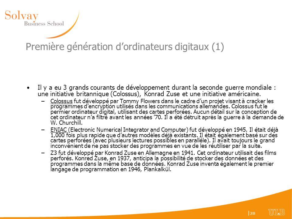 Première génération d'ordinateurs digitaux (1)