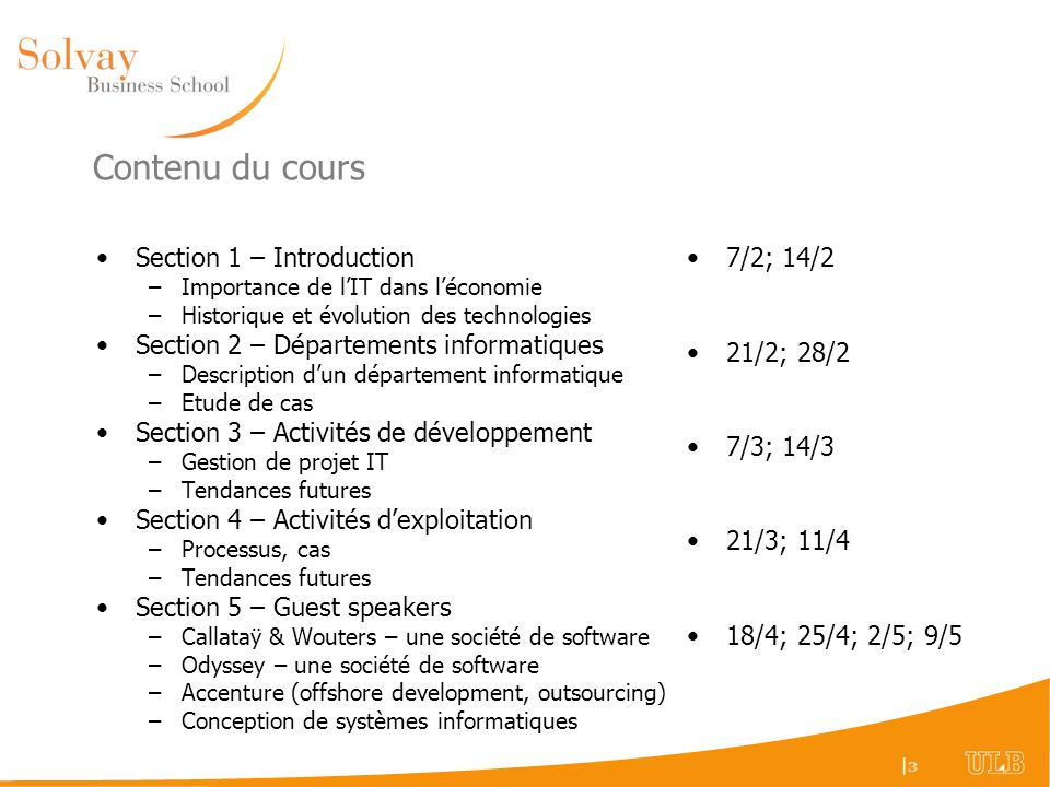 Contenu du cours Section 1 – Introduction