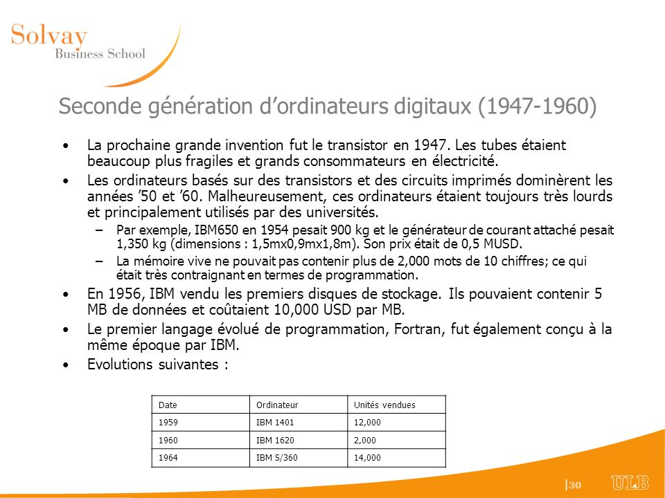 Seconde génération d'ordinateurs digitaux (1947-1960)