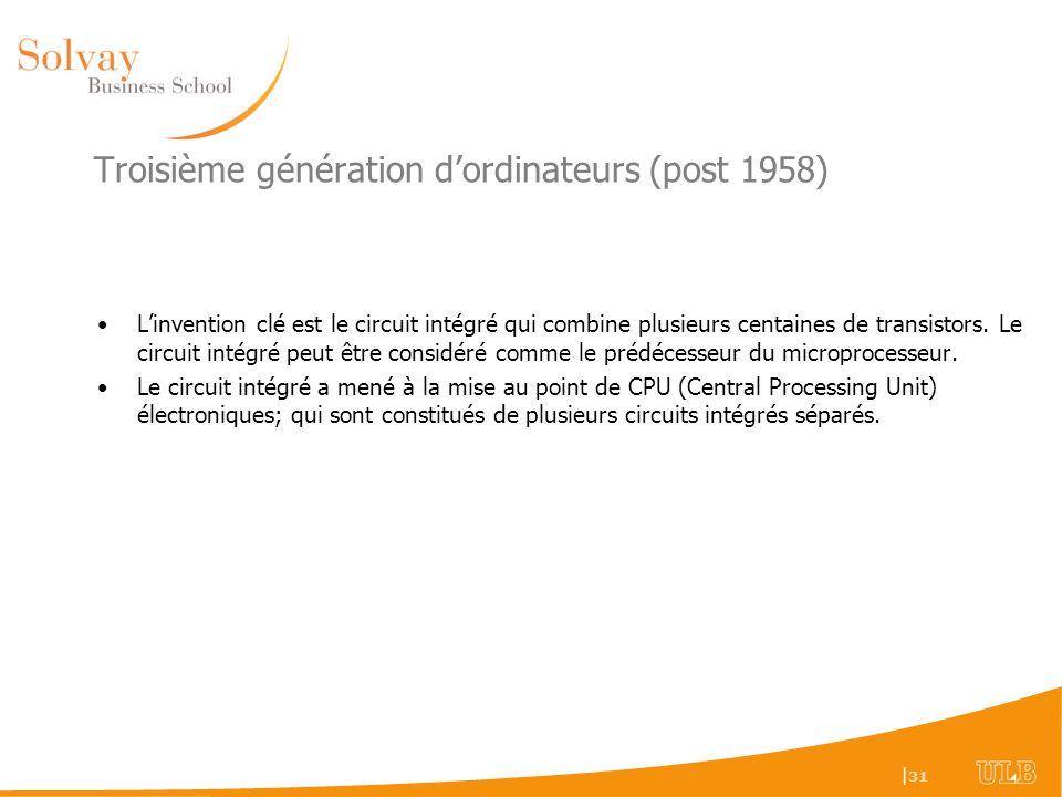 Troisième génération d'ordinateurs (post 1958)