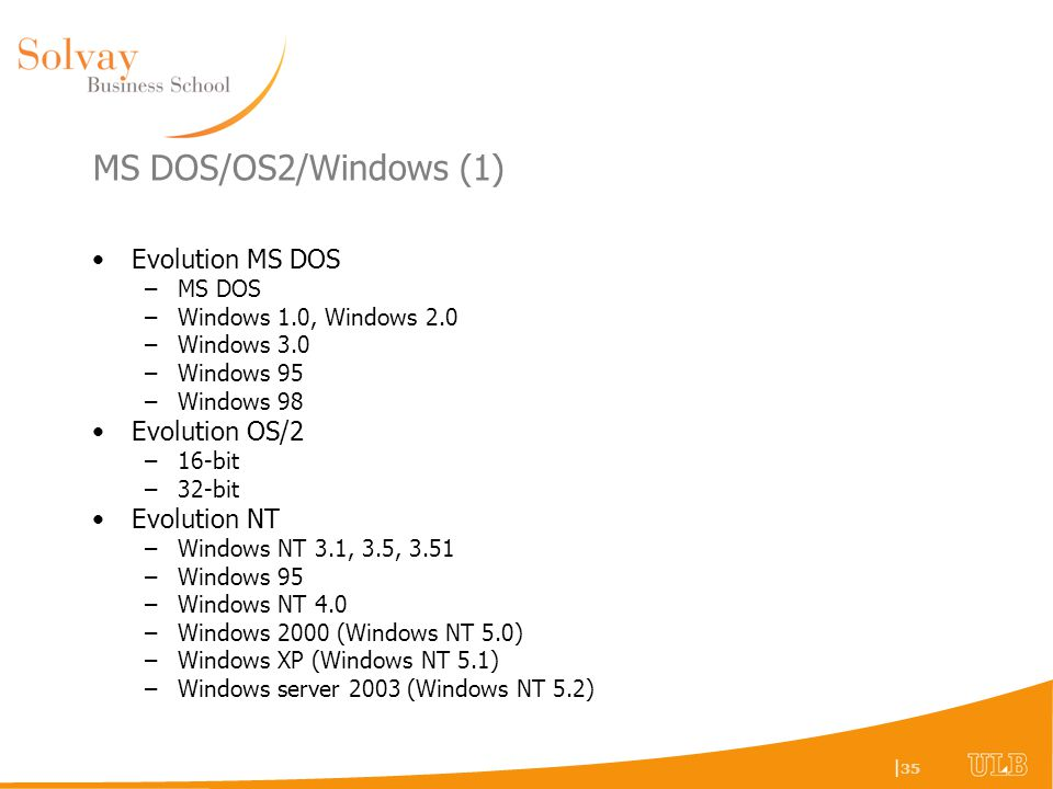 MS DOS/OS2/Windows (1) Evolution MS DOS Evolution OS/2 Evolution NT