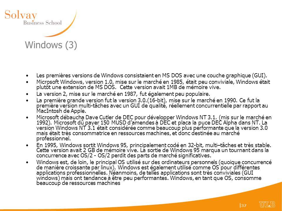 Windows (3) Les premières versions de Windows consistaient en MS DOS avec une couche graphique (GUI).