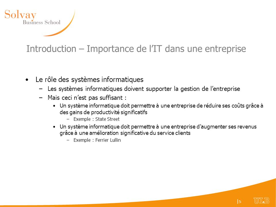 Introduction – Importance de l'IT dans une entreprise