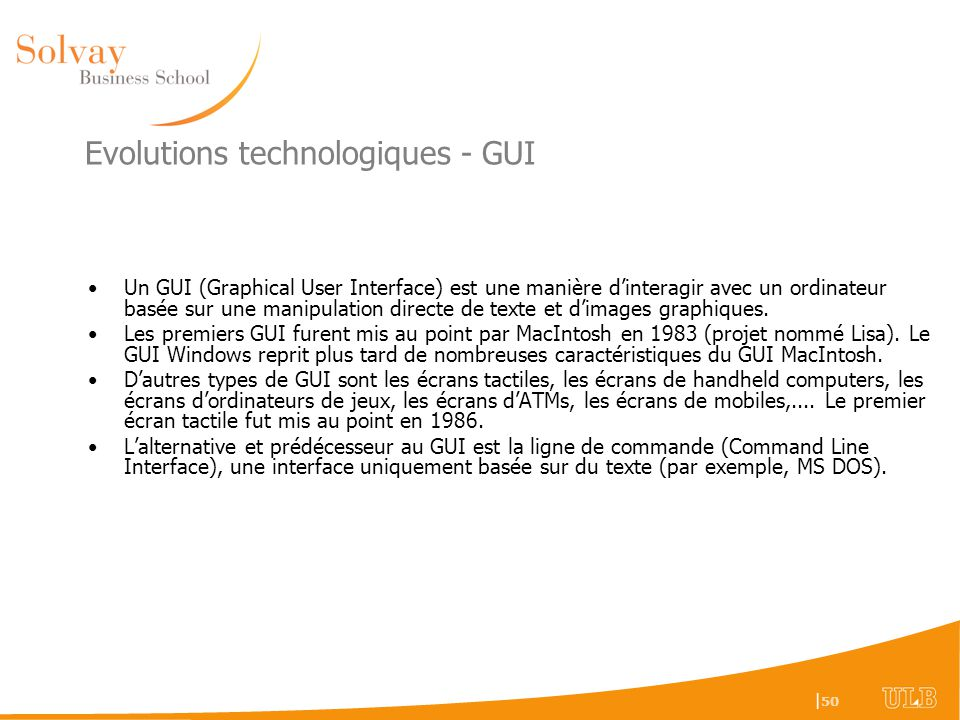 Evolutions technologiques - GUI