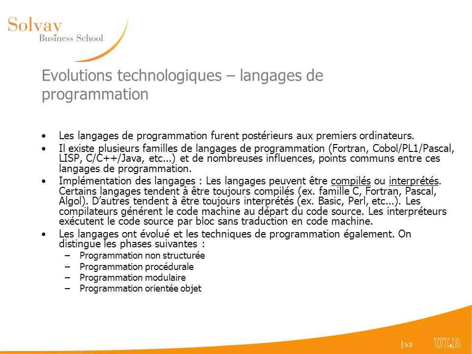 Evolutions technologiques – langages de programmation