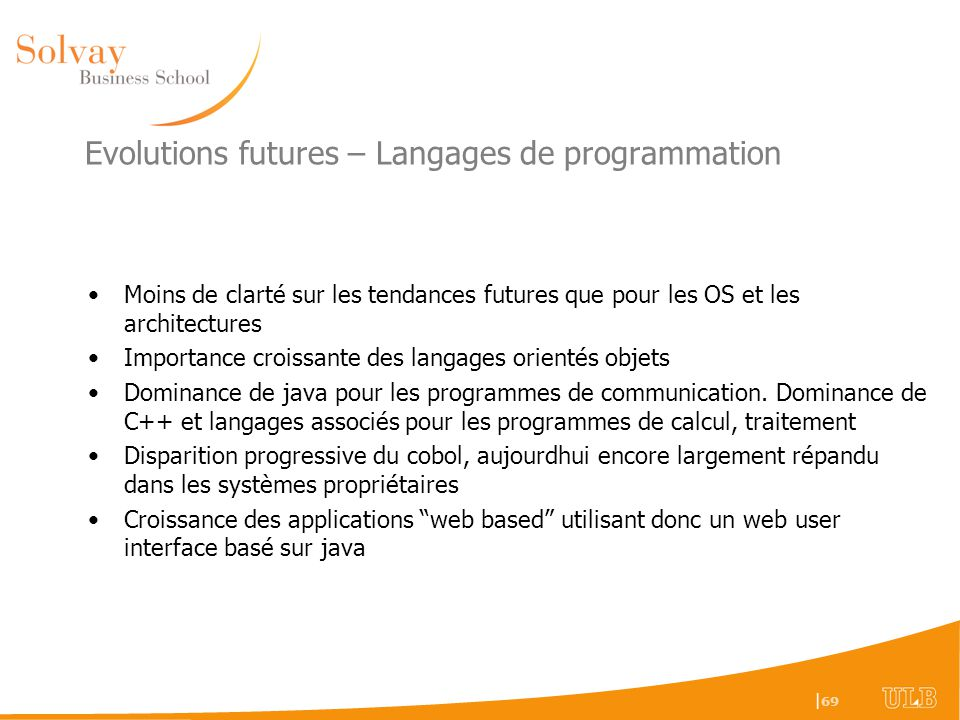 Evolutions futures – Langages de programmation