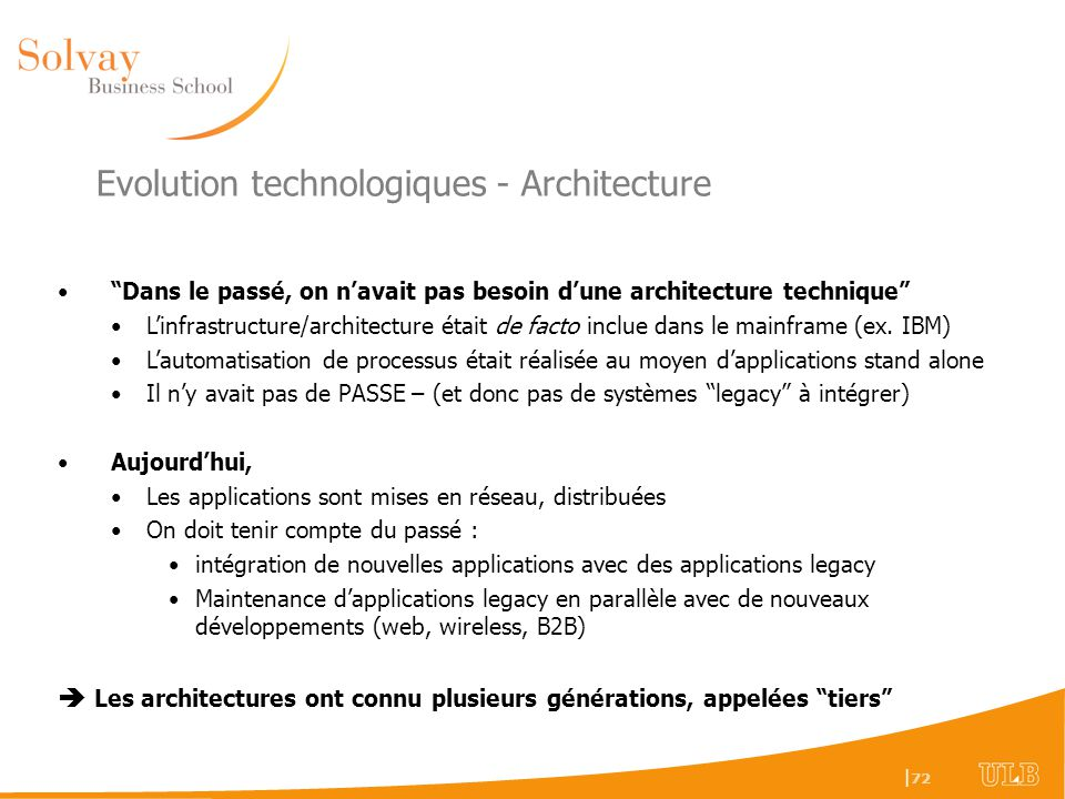 Evolution technologiques - Architecture