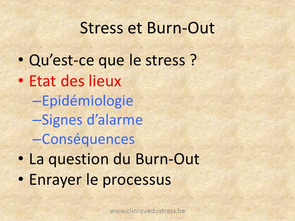 Stress et Burn-Out Qu'est-ce que le stress Etat des lieux