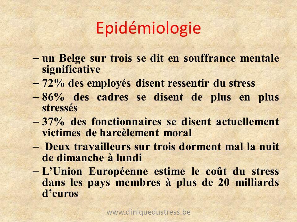 Epidémiologie un Belge sur trois se dit en souffrance mentale significative. 72% des employés disent ressentir du stress.