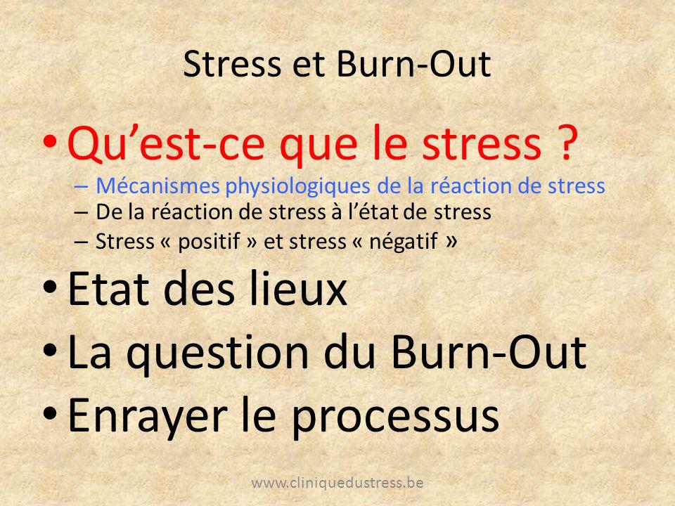 Qu'est-ce que le stress Etat des lieux La question du Burn-Out