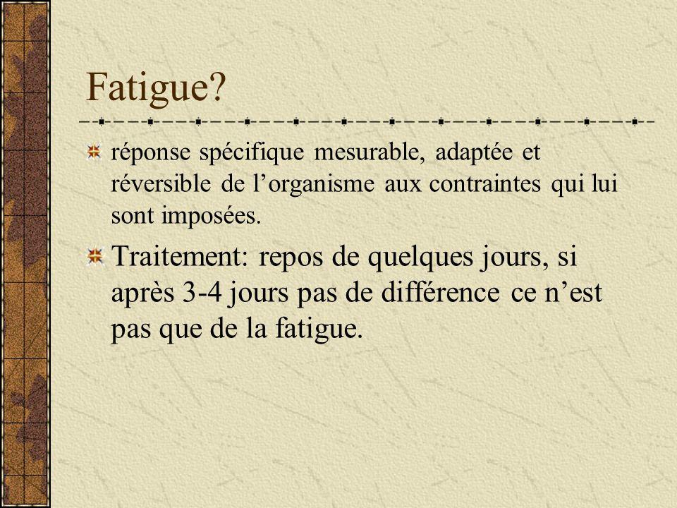 Fatigue réponse spécifique mesurable, adaptée et réversible de l'organisme aux contraintes qui lui sont imposées.