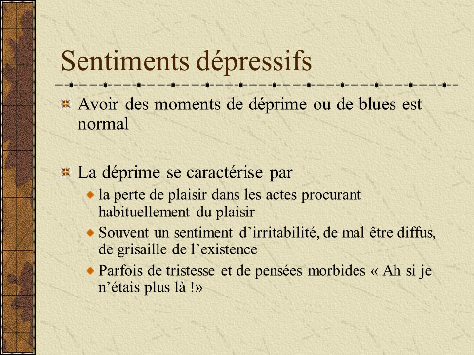 Sentiments dépressifs